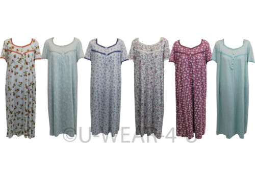 LADIES EX FAMOUS STORES JERSEY NIGHTDRESS NIGHTIES 9 COLOURS M/&5 M S