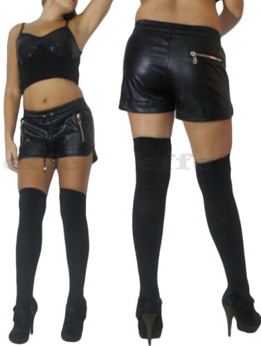 calze parigine pantalone tasche zip shorts pantaloncini donna ecopelle pants