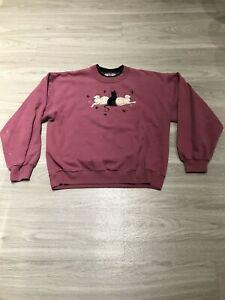Vintage-80s-Funny-Fleece-Cats-Long-Sleeve-Graphic-Crewneck-Sweatshirt-Womens-M