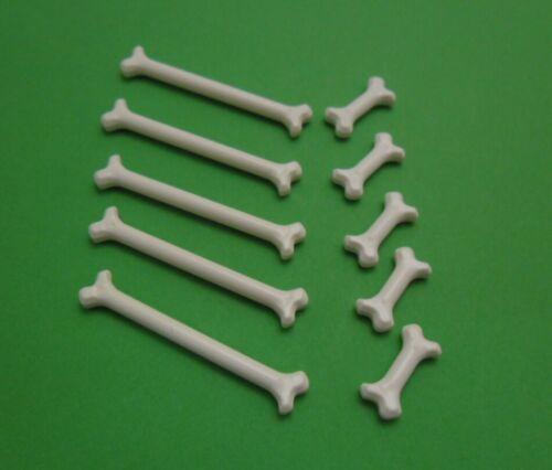 LEGO 10x Knochen 5 lange und 5 kurze in Weiss 92691 93160