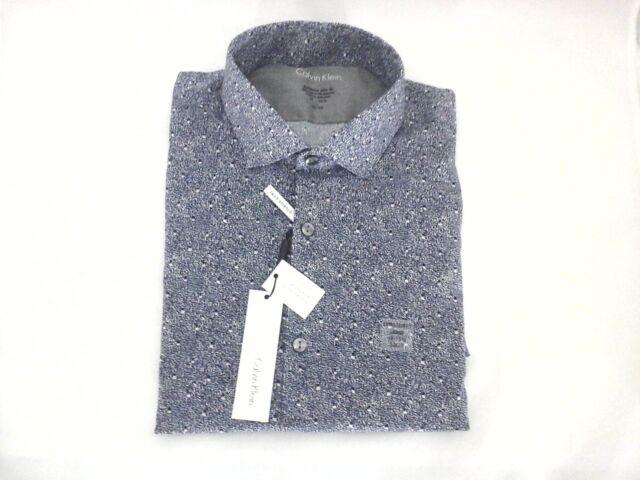 rock-bottom price enjoy bottom price quite nice CALVIN KLEIN Extreme Slim Fit Midnight Blue Stretch Dress Shirt Mens L  32-33 $69