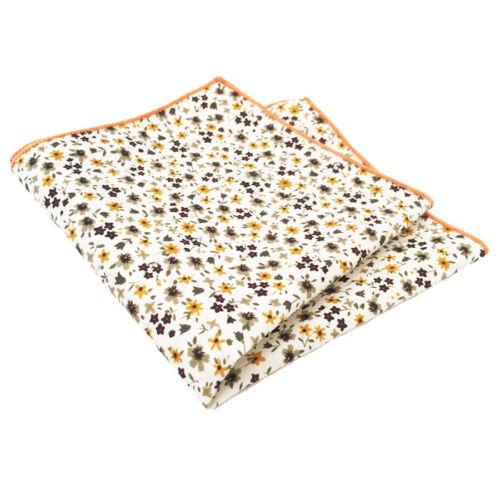 Brown and Orange Floral Print Pocket Square Cream