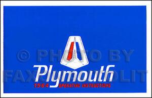 Objectif 1964 Plymouth Manuel Du Propriétaire 64 Savoie Belvedere Fury Sport Livre Guide Apparence Brillante Et Translucide