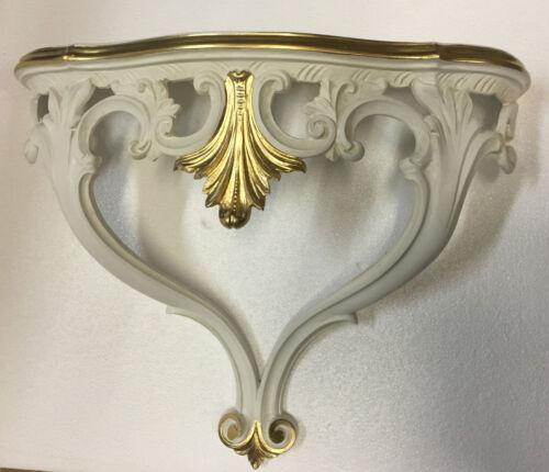 Wandkonsole Antik Elfenbein Gold Barock Konsole 57x46x18 Wandregal Shabby  cp60