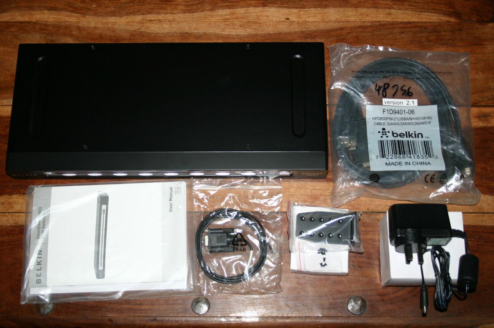 Belkin OmniView PRO3 8-Port USB & PS/2 KVM Switch F1DA108ZAU