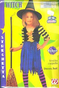 Abito-Vestito-Costume-CARNEVALE-WITCH-STREGA-STREGHETTA-4-5-ANNI-WIDMANN