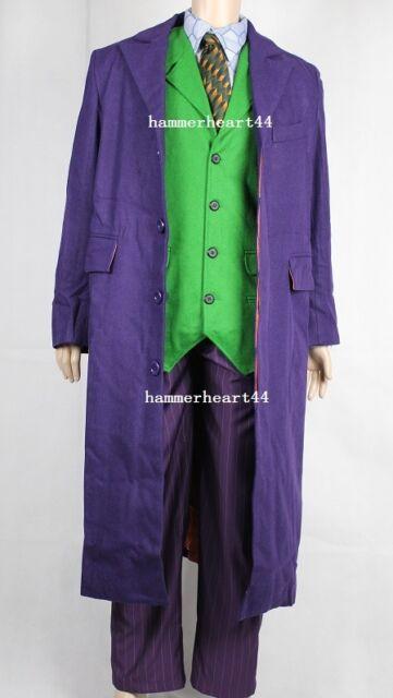 DELUXE JOKER FULL COSTUME Halloween Coat Vest Shirt Socks Tie Pants movie Prop