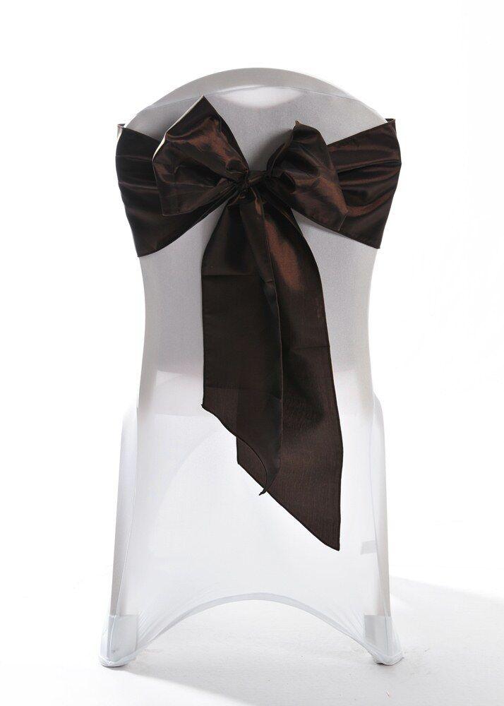 100 Ultra marron Taffeta Chair Cover Wedding Sash Bow Wedding Party UK