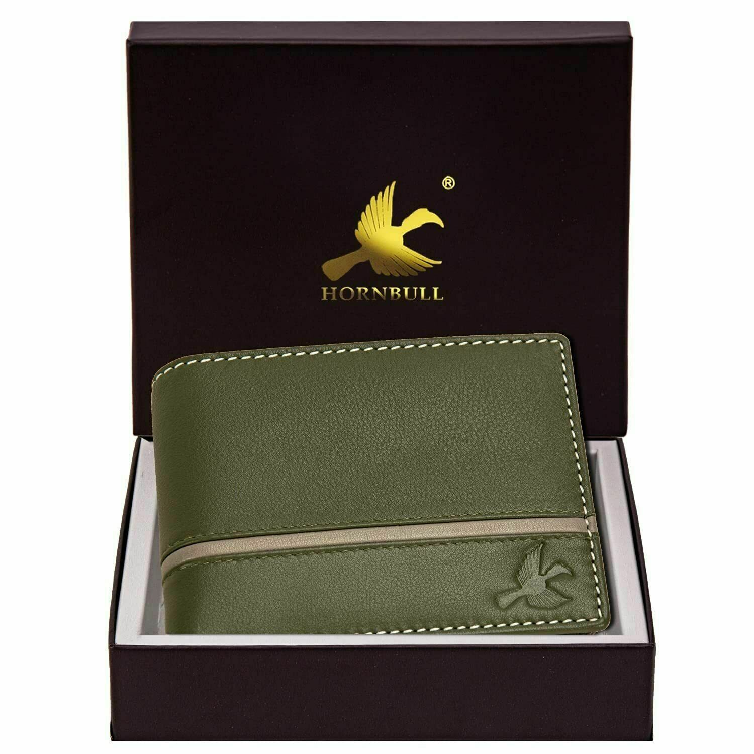 Hornbull Denial Olive Green Mens Leather Wallet – Premium Quality Leather...