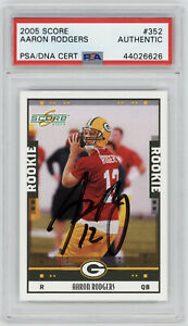 2005-PACKERS-Aaron-Rodgers-signed-ROOKIE-card-Score-352-PSA-DNA-Slab-AUTO-RC