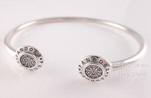 f9c263dcec2 Details about Genuine PANDORA SIGNATURE LOGO Open Bangle Bracelet 590528CZ  PICK Sz & Packaging