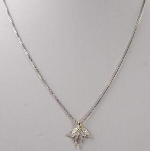 beeindruckende-585er-Gold-Halskette-amp-Anhaenger-mit-Diamantsplitter-14K-Bicolor