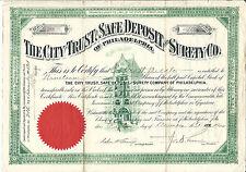 1904 PENNSYLVANIA The City Trust Safe Deposit & Surety Company Stock Certificate