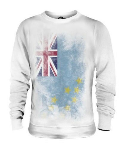 TUVALU FADED FLAG UNISEX SWEATER TOP TUVALUAN SHIRT FOOTBALL JERSEY GIFT