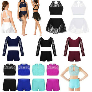 Girls-Ballet-Dance-Floral-Lace-Tank-Top-Briefs-Set-Gym-Workout-Tankini-Outfit