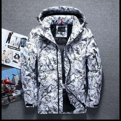 Men Women Winter Duck Down Jacket Ski Thicken Snow Camouflage Hooded Puffer Coat