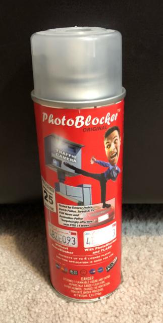 PHOTOBLOCKER License Plate Camera Blocker / Photostopper Spray As Seen On TV