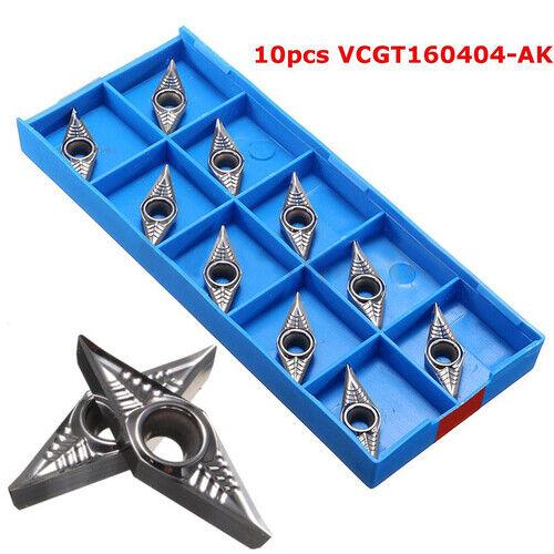 10Pcs VCGT160404-AK Carbide Inserts Boring Bar Insert Set for Lathe Turning UF