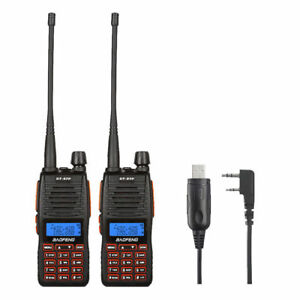 2x Baofeng GT-5TP 8W HP V/UHF 136-174/400-52<wbr/>0MHz Two-way Radio +  Speaker Cable