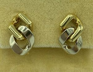 Fred Paris 18K Yellow And White Gold Clip Chain Link Earrings Vintage