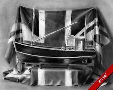 ENGLISH FISHING TRAWLER MODEL BOAT & BRITISH UNION JACK FLAG ART CANVAS PRINT