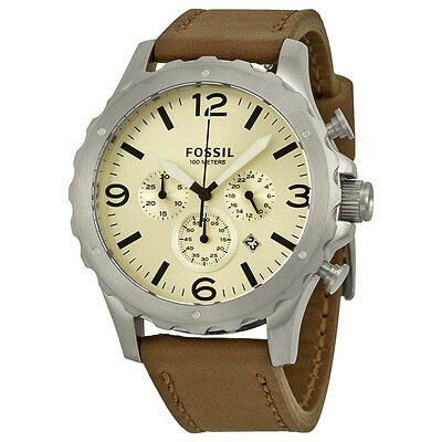 Fossil Nate Chronograph Silver Dial Brown Leather Strap Mens Watch JR1473