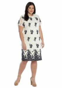 Details about Plus Size Navy & White Embroidery Lace Dress Size 2X