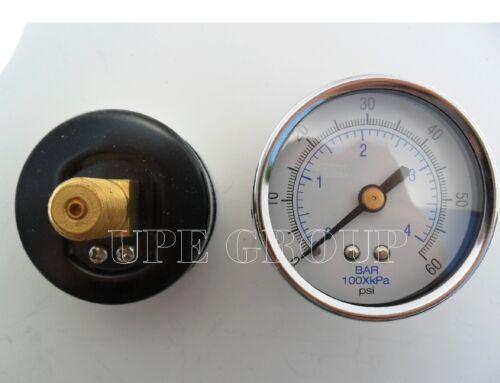 "New air pressure gauge air compressor hydraulic 2/"" face 0-60 back mnt 1//4/"" npt"