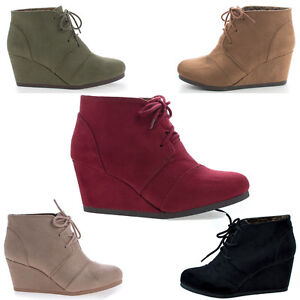 b66a6e9600bc2 Details about Rex Lace Up Oxford Ankle Bootie Round Toe High Hidden Wedge  Heel Women's Shoe
