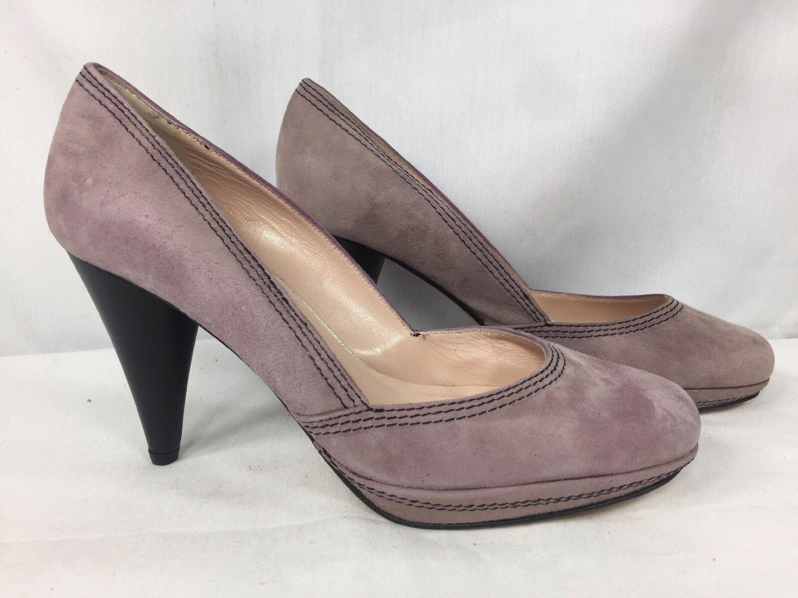 LOEFFLER RANDALL High Heel Platform Pump Purple Tonal Stitching Round Toe Schuhe 7