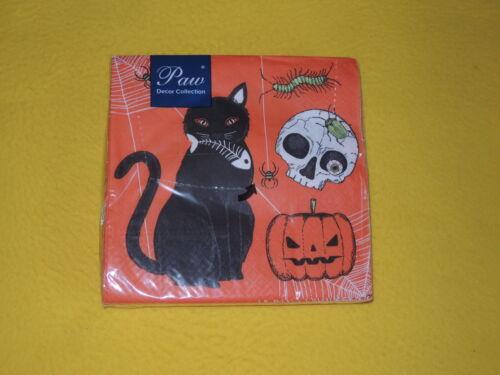 20 serviettes Halloween Chats chauve-souris 1 boîte neuf dans sa boîte yeux Araignée Grenouille Paw