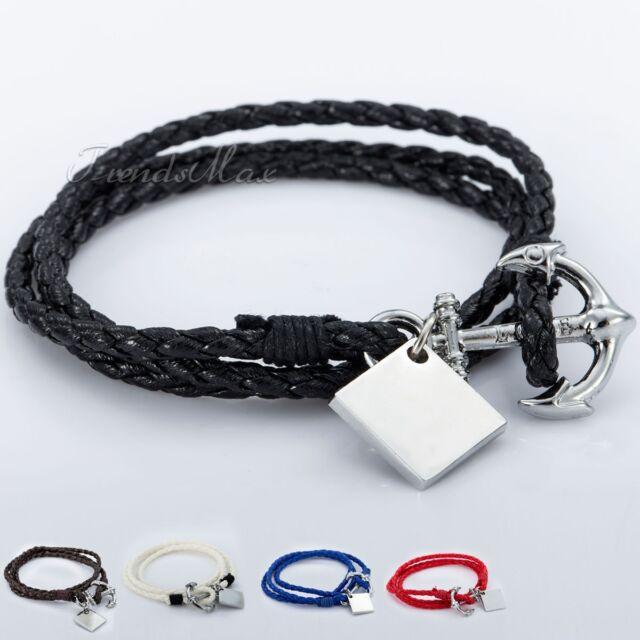 Mens Womens Unisex Braid Rope Man-made Leather Bracelet Wristband Surfer Sport