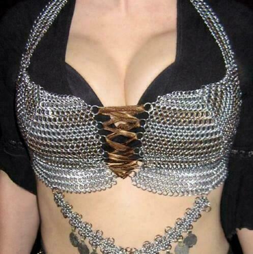 Details about  /Aluminum Chainmail Beautifull Bra Draped Bra Crop Tops