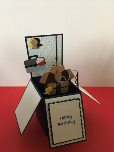 Hand made pop up card FISHING theme