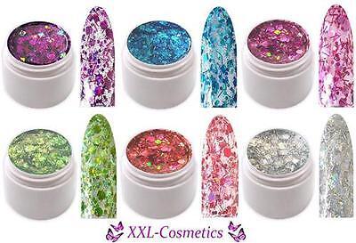 6 x 5ml Crisp Glitter Gel Pailletten Gel mit Fäden Made in Germany CG-Set