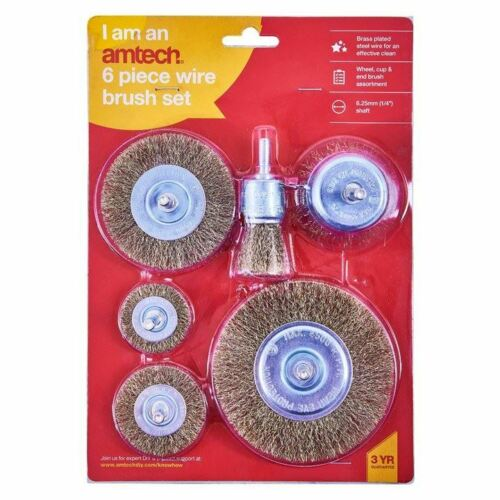 Amtech 6 Piece Drill Wire Wheel Cup Brush For Polishing//Rust etc Heavy Duty Set