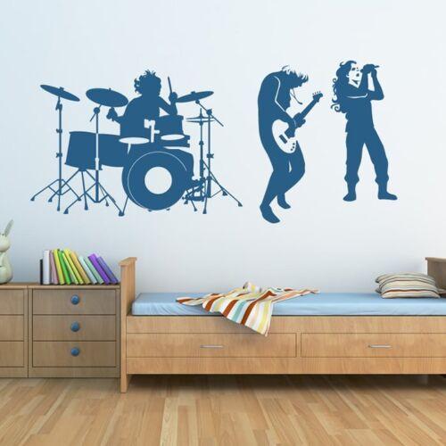 Rockband Wandtattoo Schlagzeug Musik Wand Sticker Kinder Schlafzimmer Haus