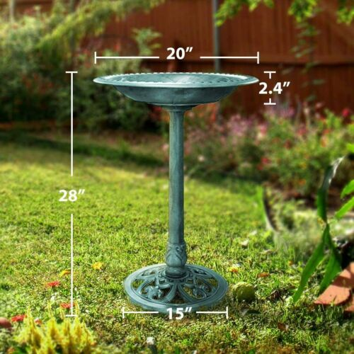 VIVOHOME 28inch  Polyresin Lightweight Antique Outdoor Garden Bird Bath Copper