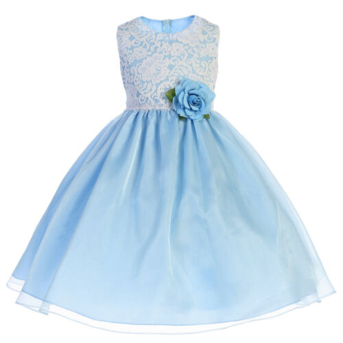 Blue Coral Dusty Rose Flower Girl Floral Embroidered Dress Easter Wedding Party