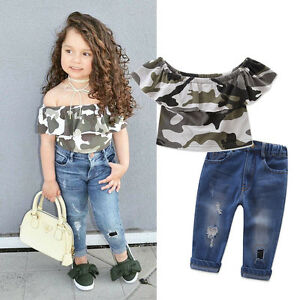 fashion kids girls off shoulder camo tops jeans pants denim clothes outfits set ebay. Black Bedroom Furniture Sets. Home Design Ideas