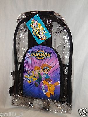 NEW WITH TAGS CLEAR DIGIMON BACKPACK SIZE 10X16 INCHES