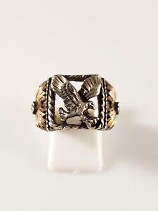 Vintage Sterling Tri Color Gemstone Ring Size 9.5