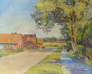 Original oil painting Faith Sheppard (1920 - 2004) Hertfordshire Lane framed