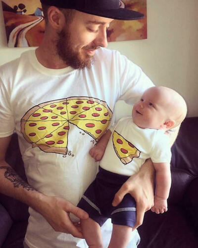 Single Pizza Slice Daddy Dad Son Daughter Mum Mom Fathers Day Matching T Shirt
