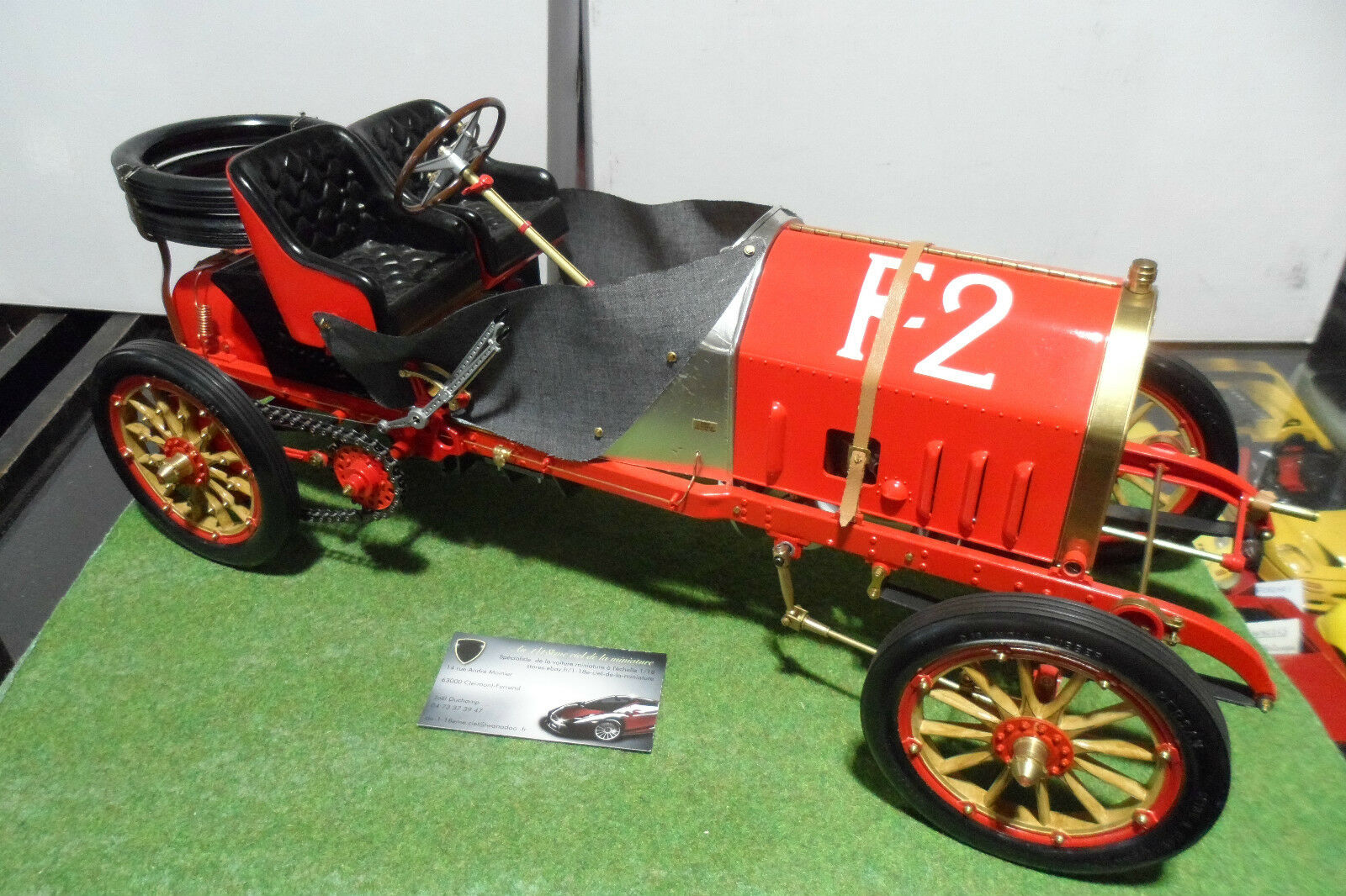 FIAT 130 HP F-2 RACER 1907 grand prix France montee 1 8 POCHER voiture miniature