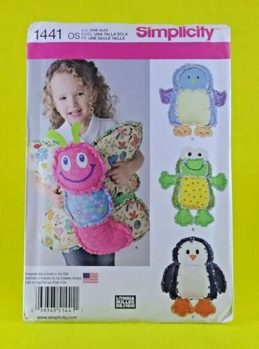New Simplicity 1441 rag quilted animal pillows soft toy butterfly penguin frog