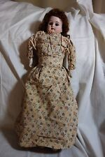 """Victorian Doll-Bisque Head,Kid Body,Brown Eyes-17""""-Marked 12/0-Orig.Clothes-SALE"""
