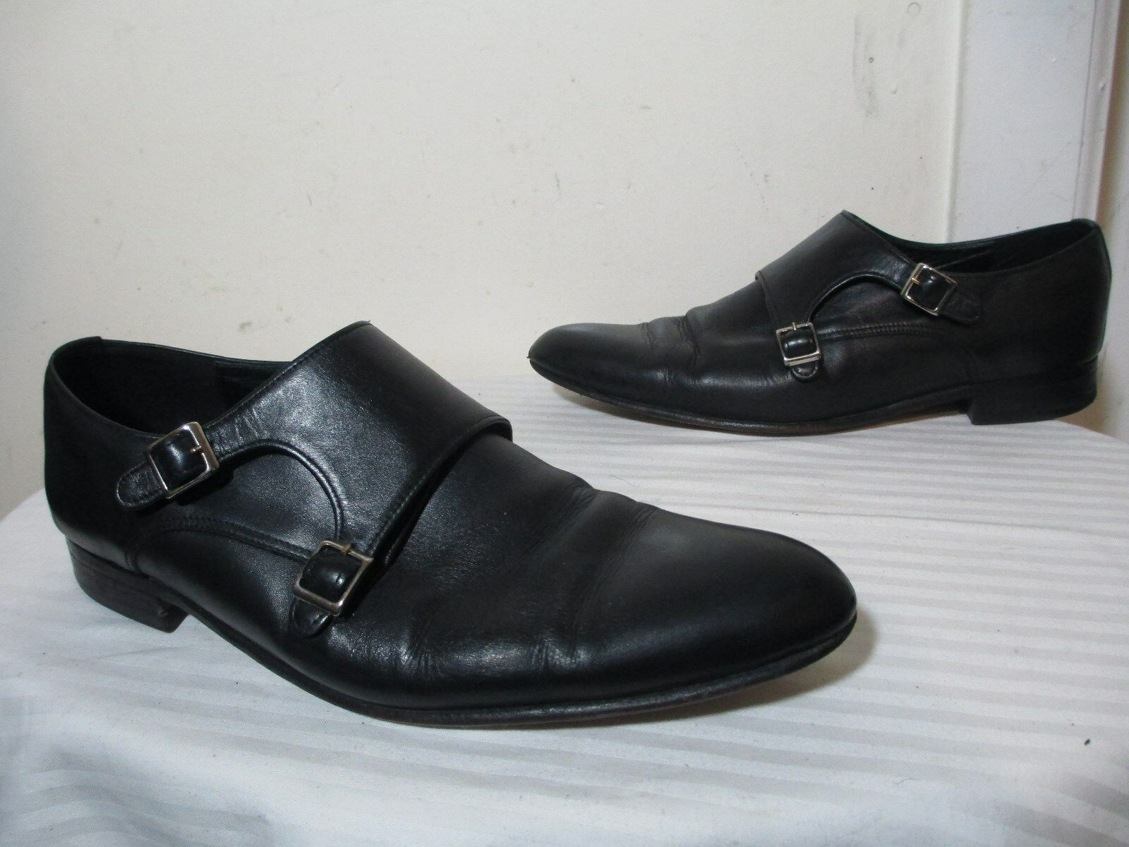 SUARTE HANDMADE SHOES MEN'S BLACK LEATHER DOUBLE MONK DRESS SHOES SZ 11 - 11.5