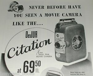 1950 DeJur ad, DeJur Citation movie camera
