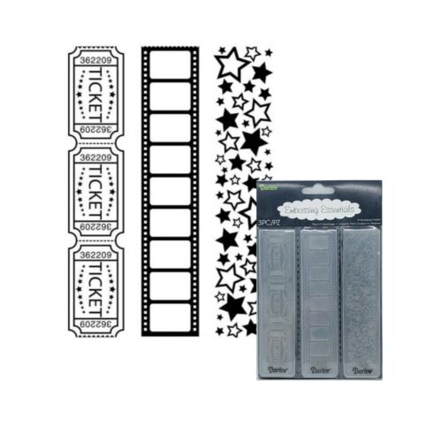 Movie Theme Borders folder set tickets film stars 3PK Darice embossing folders